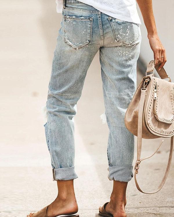 Boyfriend Broken Rolled-Up Washed Denim Jeans