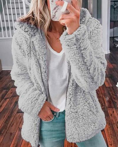 Hooded Woolen Fleece Jacket
