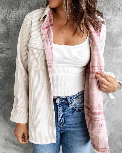 Women Fashion Cardigan Double-sided Corduroy Jacket