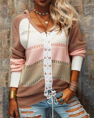 Striped V Neck Long sleeve Lace Up Hoodie