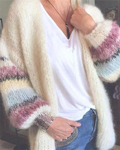 Striped mohair cardigan autumn and winter knitted jacket