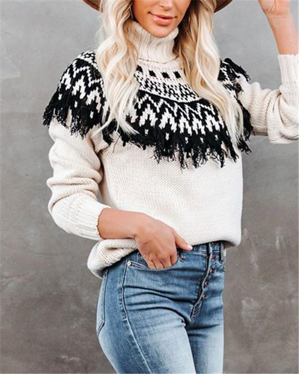 Fringed Turtleneck Knit Women's Pullover Sweater