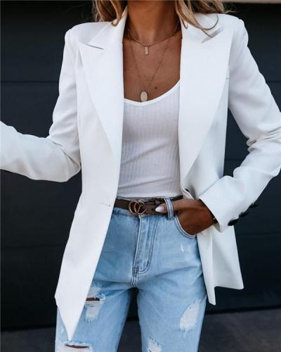 Solid color suit collar button suit jacket cardigan