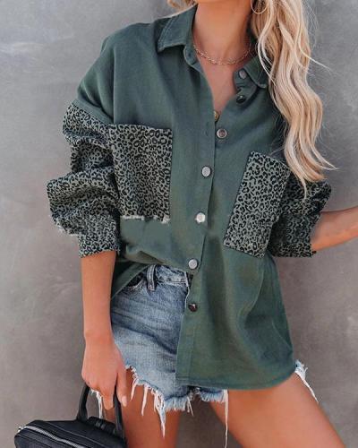 Cool BF Denim Jacket Leopard Patchwork Loose Coat