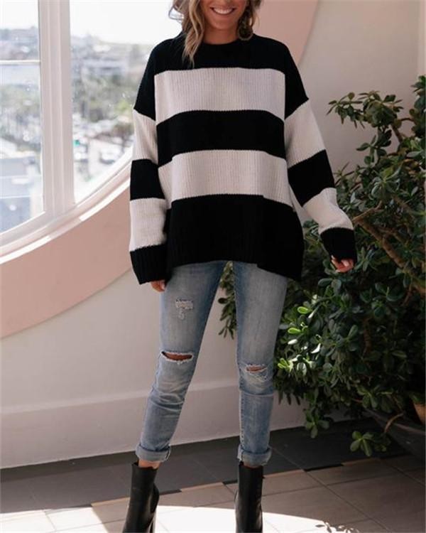 Striped sweater pullover loose fashion sweater