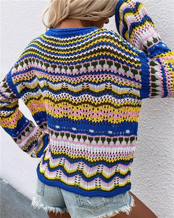 Patchwork sweater loose inter-color rainbow round neck striped sweater