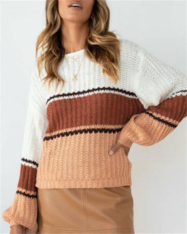 Round Neck Hollow Loose Color Stitching Long Sleeve Knitted Sweater