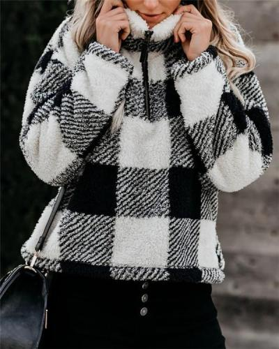 Stand-up Collar Long-sleeved Loose All-match Plaid Shirt Women's Clothing