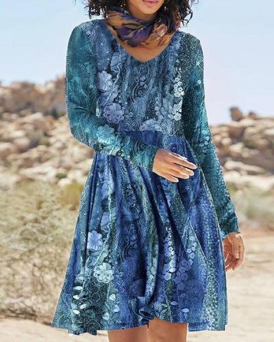 Long Sleeve Casual Round Neck Women's Dress