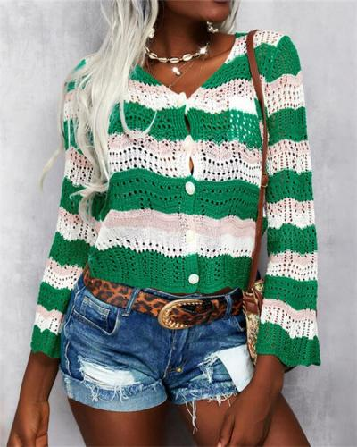 Knit Cardigan Single-breasted Long Sleeve