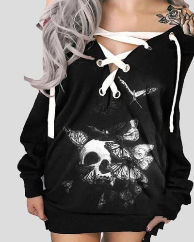 Halloween Off-The-Shoulder Printed Skull Casual Dress