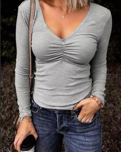 Button Ruched V-Neck Long Sleeve Blouse