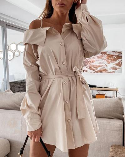 Perfect Together Cold Shoulder Shirt Dress