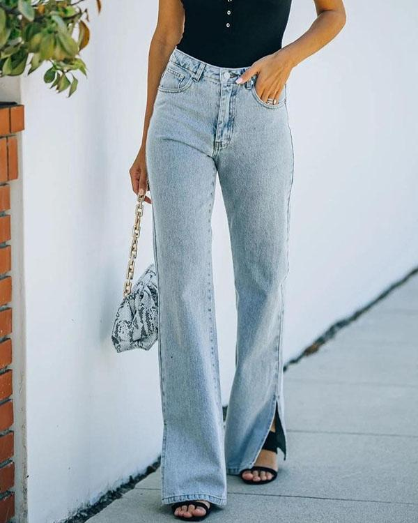 Retro Mid-rise Jeans Flare Slit Denim Pants