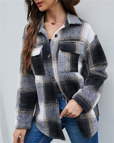 Single-breasted Plaid Cardigan Women's Long Sleeve Casual