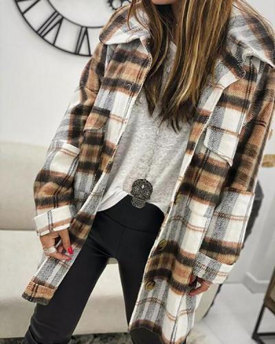 Lapel Long Sleeve Loose Plaid Coat