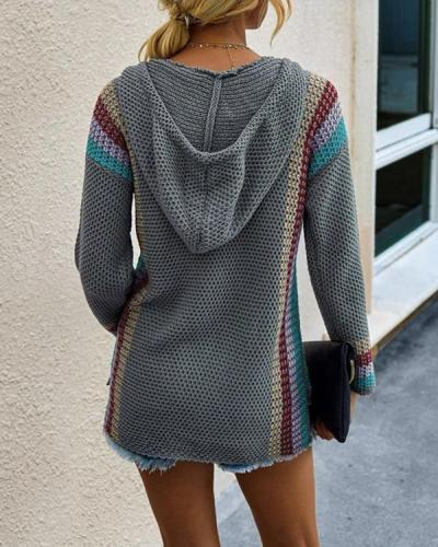 Fashion Color Block Long Sleeve Hoodie Sweater