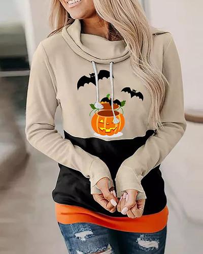 Halloween Bat Pumpkin High Neck Casual Long Sleeve Top