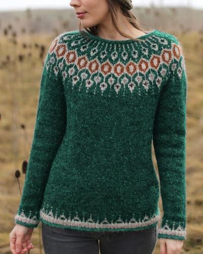 Patterned Long Sleeve Slim Sweaters