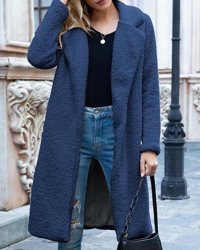 Women Winter Faux Fleece Long Sleeve Lapel Warm Coat
