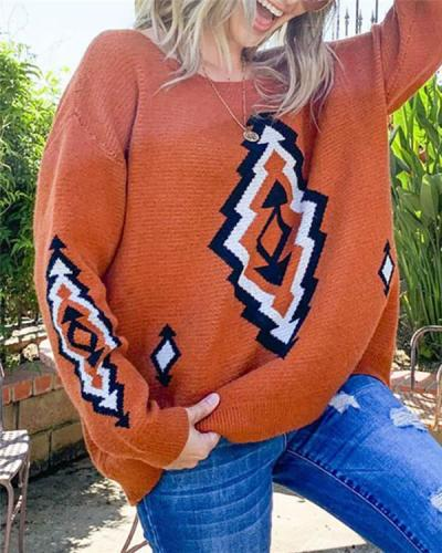 Loose Round Neck Knit Jacket Contrasting Color Knit Sweater Off Shoulder