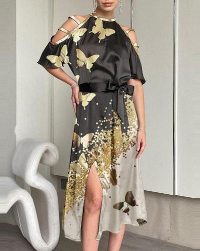 Fashion Butterfly Print Off-shoulder Midi Dress