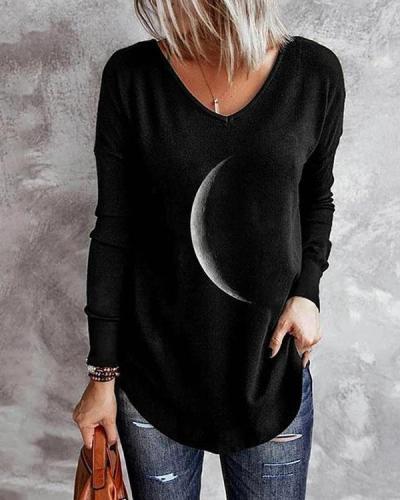 V Neck Irregular Crescent Moon Print Long Sleeve Fall Shirt & Top