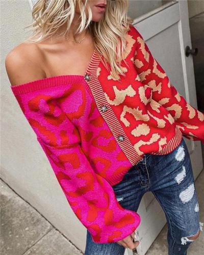 Leopard Print Stitching Fashion Personality Cardigan Button Knit Jacket