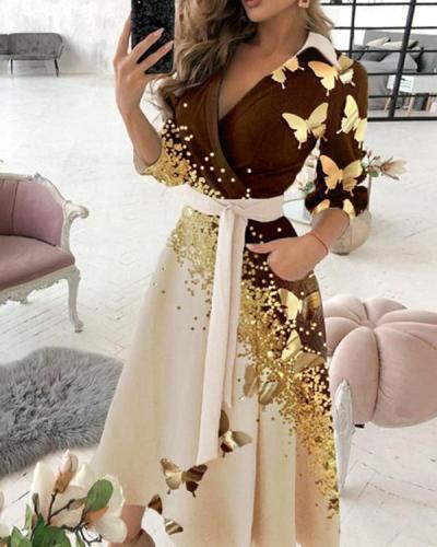 Ladies Elegant Butterfly Starlight Print Dress