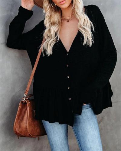 Knit Cardigan Long-sleeved Dovetail Hem Pleated Slit Bat Shirt