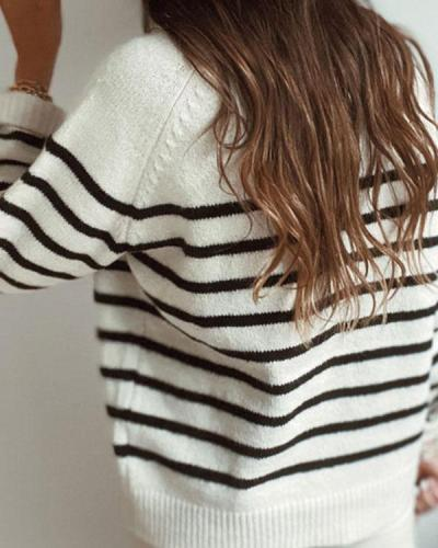 Crew Neck Stripe Long Sleeves Button Sweater