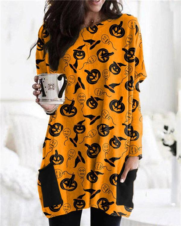 Halloween Popular Cartoon Print Long Sleeve Dress