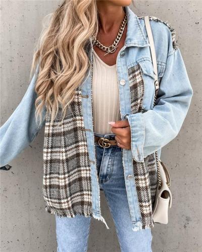 Denim stitching plaid coat loose top