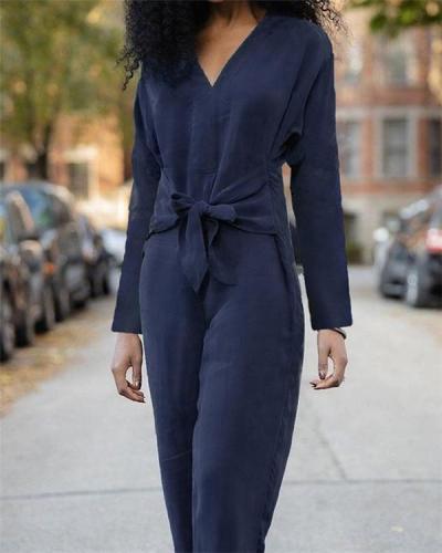 Long Sleeve V-neck Top Belt Jumpsuit