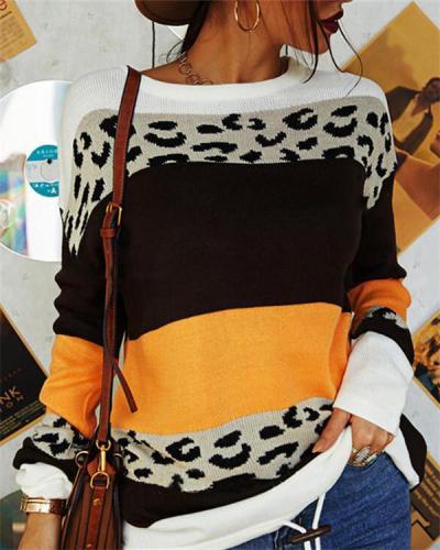 Leopard Print Color Block Crew Neck Sweater