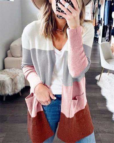 Knit cardigan pocket jacket