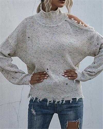 Autumn Solid Color Knitted Sweater