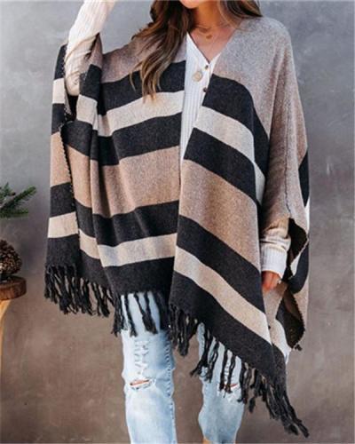 Fringed Sweater Sweater Batch Shoulder Coat