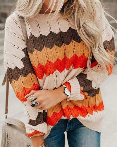 Casual Striped Color Block Knit Sweater