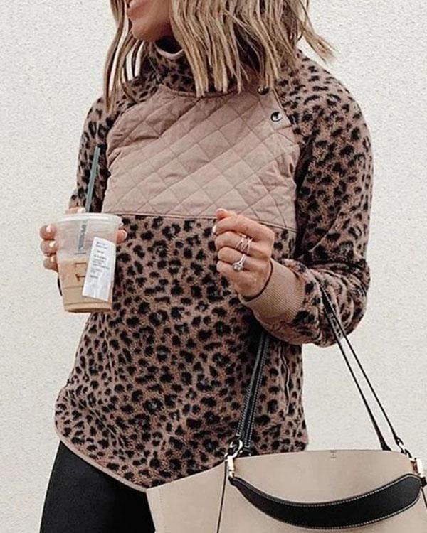 Women Button Long Sleeve Leopard Sweatshirt