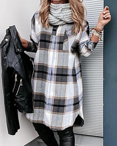 Check Pocket Long Sleeve Casual Shirt Dress