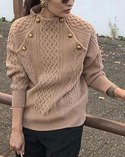 Trendy Round Neck Loose Pullover Sweater