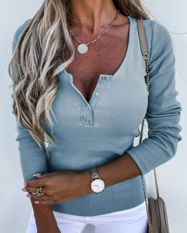 Solid Color Button Long Sleeve Blouse