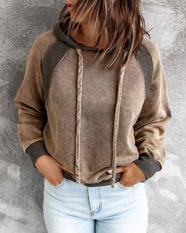 Contrast Loose Fit Patchwork Women's Hoodie Pullover