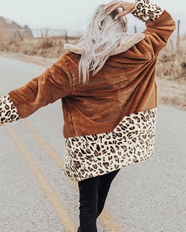 Leopard Long Sleeve Splicing Coats