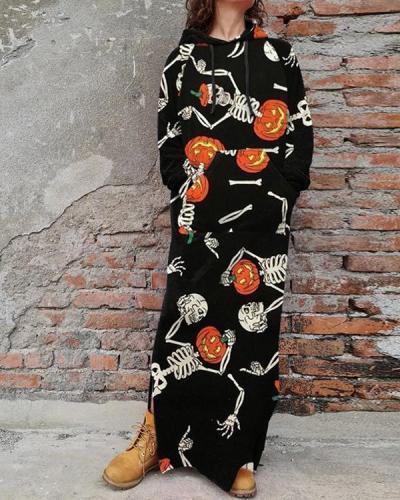 Halloween Printed Skull Sweatshirt Casual Dress