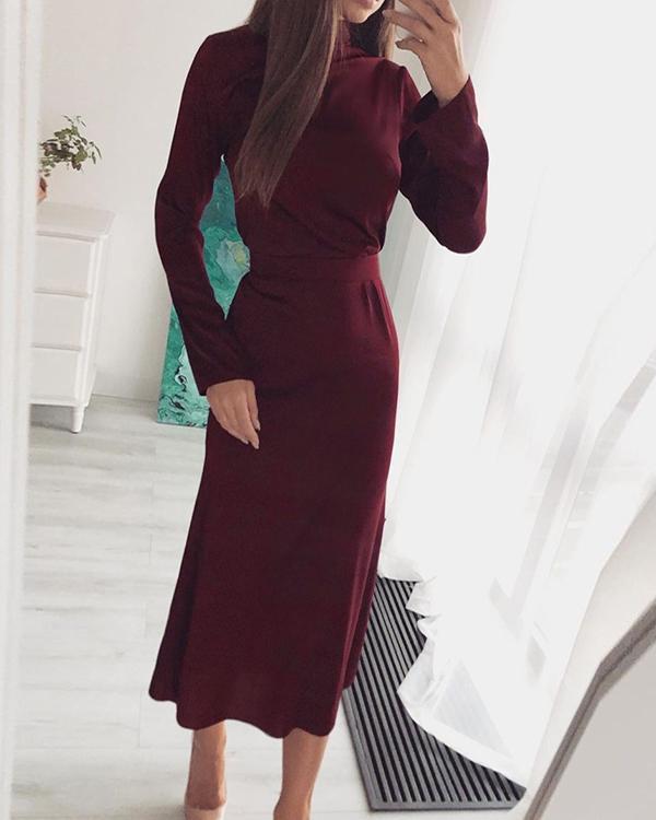 High-neck Solid Color Long-sleeved Dress
