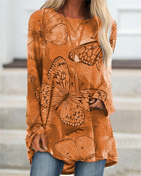 Floral Butterfly Long Sleeve Casual Top