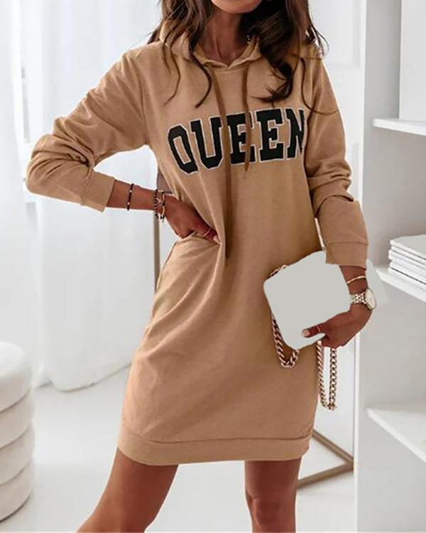 Long Sleeve Hooded Letter Sports Casual Dress