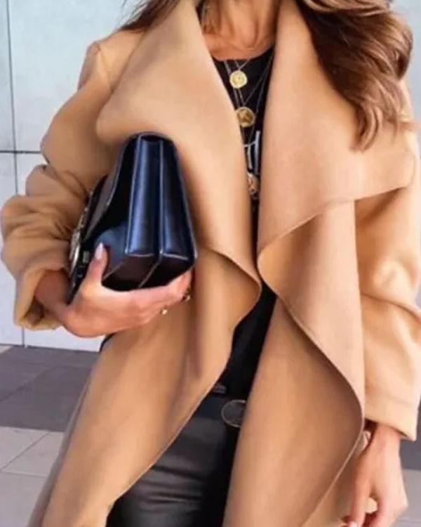 Solid Color Double Pocket Loose Casual Woolen Coat